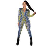 Мода змеиной печати повседневные комбинезоны для женщин 2019 Sexy V-образным вырезом с длинным рукавом на молнии с длинным рукавом узывый бедро боди Mono Mujer Largo LZ2988