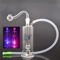 Mini glass oil burner bong Automatic LED light Mini Glass smoking Water Pipes Recycler beaker bongs with Hose and Pot Bowl