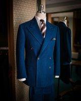 Men's Suits & Blazers Custom Classic Winter Vintage Wedding Groom Suit 3 Pieces Double Breasted Denim Blazer Vest Pants For Men Prom Evening