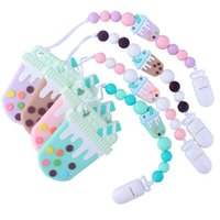 Newborn baby Silica gel Bead Pacifier Holders ice cream Teethers Hand Made Safe Infant toddler Toys Teether Chain Clips Z3400