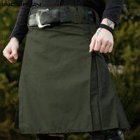 Homens Scottish Kilt Tradicional Saias Plissadas Gótico Punk Cor Sólida Scottish Kilts Calças Homens Saias Vintage 2021