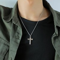 Chains Cyue Fashion 316L Stainless Steel Punk Necklace Chain Cross Pendant Charm With Pave CZ For Boy Jewelry 52CM