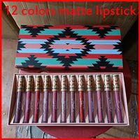 M 메이크업 립글로스 컬렉션 크리스마스 매트 액체 립스틱 12 색 Lipkit 12pcs / 세트 Lipgloss 리얼 그림