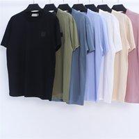 Smoothie de verano Camiseta de algodón Camiseta con cuello redondo Logotipo de bordado Casual Simple Casual Pareja Mangas cortas Marca de moda europea y americana