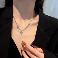 Pendant Necklaces Simplicity Love Heart Titanium Steel Necklace Women Fashion Design Splicing Chain Female Trendy Clavicle Chokers