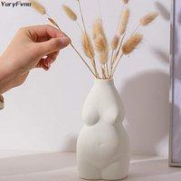 Yuryfvna هيئة زهرة زهرية السيراميك ديكور الحد الأدنى الإناث ترتيب شكل الإبداعية الرئيسية المزهريات