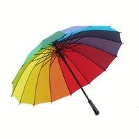 New Rainbow Umbrella Long Handle 16K Straight Windproof Colorful Pongee Umbrella Women Men Sunny Rainy Umbrella ZZF8872