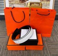 Модный пояс в европейском стиле, мужские женщины высочайшего качества 4 цвета, золота и серебряные кнопки могут выбрать оранжевую коробку