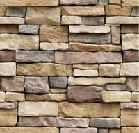 Wallpaper Rock Brick Self-Adhesive Paper Peel and Stick Backsplash Wall Panel Removable Home Decoration (18 inch*394 inch)