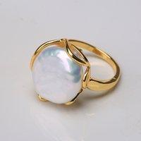 Baroquely natural freshwater barroco de pérola anel retro estilo 14k notas ouro retro estilo irregular botão dado forma anel rfd