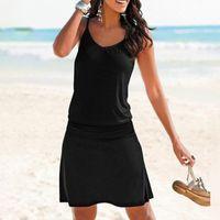 Dress Woman Black Slip Summer Women's 2021 Sexy Stripe Geometric Short Sundress Casual Vintage Beach Halter Outfit Dresses