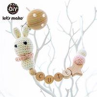 Fabriacons une chaîne de sucette 1PC bébé Teeting Chains Crochet Perles de lapin Clips en bois Perles de bois Tetather Tiny Rod Enfants Fulmy Clips 210407