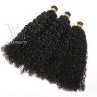 Перуанские я наконечники наращивания волос на заказ страдают kinky вьющиеся 100 прядей предварительно склеиванные палочки я кончит кератиновый слияние человеческих волос