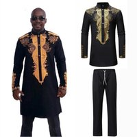Ethnic Clothing Full Sleeve Luxury Man Shirt Trousers Set 3D Print African Style Hip Hop Street Wear Male Dashiki Tops Bazin Riche Outfit