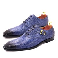 Size 6 To 13 Mens Dress Shoes Oxford Genuine Leather Blue Print Buckle Lace Up Pointed Toe Party Wedding Classic Shoes for Men
