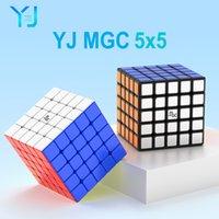 YJ MGC 5 큐브 5x5 마그네틱 마술 큐브 62mm 스티커리스 yongjun mgc5 5x5x5 자석 퍼즐 속도 큐브 아이들을위한 교육 완구