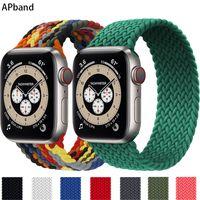 Плетеный сольный цикл для полосы Apple Watch 44 мм 40 мм 42 мм 38 мм ткань нейлоновый эластичный ремень браслет браслет Iwatch серия 3 4 5 SE 6 ремешок