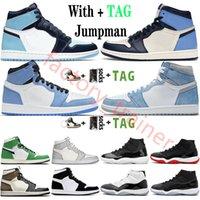 2021 Новое поступление 2021 года Jumpman High OG 1 1s Lucky Green Dark Mocha University Blue Obsidian Мужская баскетбольная обувь Дизайнерские спортивные кроссовки Кроссовки
