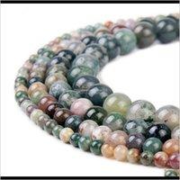 Drop livra livraison 2021 pierre naturelle agate indienne ronde pierre précieuse perles en vrac pour bricolage bracelet bijoux Faire 1 brin 15 pouces 4 6 8 10 mm Z92RQ