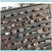 Avec des pierres latérales Années Bijoux Ring Bague Or Colorf Fashion Bling Cristal strass Haute Qualité Coréen Bijoux Drop Drop Drop 2021 Olitu