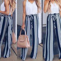 Women's Pants & Capris Fashion Summer Wide Leg lace up Women High Waist Striped Loose Palazzo Elegant Office Ladies Trousers FU9B