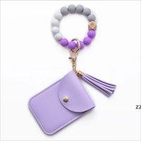 Gel de silice Bead Bead Bague Bracelet Partie Tassel Favoris Cadeaux Perles de Bois Cartes Sacs Sacs à portefeuille Bracelets Porte-bracelet Bracelet HWD8348