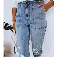 Women's Jeans Wepbel Washed Pencil Denim Pants Autumn Ripped Simple Blue Women Pockets Streetwear High Waist Trousers