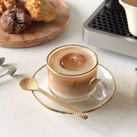 Coupes Souffeuses Temps de thé en verre résistant à la chaleur Réglage eau Coiffe Cafe Cool réutilisable avec boîte cadeau moderne Tazas de café cuisine salle de cuisine e5bd