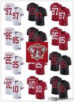 "75 homens mulheres juventude san ""Francisco"" 49ers ""85 George Kittle 10 Jimmy Garoppolo 25 Richard Sherman 97 Nick Bosa Football Jersey"