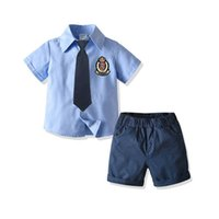 Boys Clothing Sets Kids Suits Children Clothes Summer Cotton Short-Sleeved Necktie Shirt Shorts 2Pcs Birthday Infant Outfits B7281