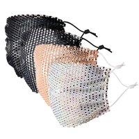 다이아몬드 - encrusted 스퀘어 다이아몬드 얼굴 마스크 디자이너 메쉬 블랙 핑크 다채로운 다이아몬드 마스크 플래시 장식 라인 석 통기성 베일 안면