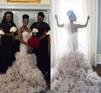 Luxury Organza Ruffles Bottom Wedding Dresses 2016 Backless Mermaid With Beaded Sash Black Girl Amazing Trumpet Beach Bridal Gown