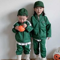 80-130CM squid game tracksuit unisex kids fleece outfits 456 green hoodie jacket coat tops and pants two piece sportswear winter clothing set cosplay suit G052QPT