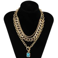 Ingesight. Z 3PCS / набор Miami Diamond Cuba ожерелье RAS воротник синий хрустальный кулон Lasso мужская ожерелье ювелирные изделия Q0809