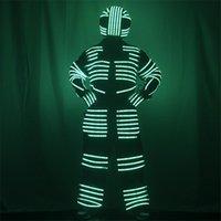 Party Dekoration P13 Cosplay LED Kostüme Bühnentanz Bunte Roboter Männer Anzug RGB Light DJ trägt Helmstange Performance Outfit Leuchtende Kleidung