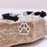 Sevimli Köpekler Kedi Hayvan Ayı Paw Charms Kolye Bilezik Gümüş Kaplama Deri Zincir Basit Bileklik Kadınlar Vintage Takı WQ463 6R8U