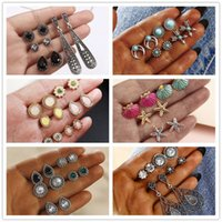 F25 Vintage Geometric Stud Earrings Set For Women Girls Fashion Bead Stone Flower Small Earrings Boucle doreille Femme