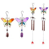 Decorative Objects & Figurines Butterfly Wind Chime Unique Metal Bells Tubes Iron Hanging Decor With S Hook For Indoor And Outdoor Patio Yar