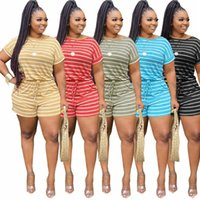 Womens Tracksuits Stripe T-shirt + Shorts Outfits 2 Piece Set Casual Sport Suit Sportsuit Summer Women Clothes Fashion Print