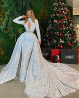 Stunning Sequin Evening Dresses With Detachable High Neck Long Sleeves Prom Dress For Women Open Back Party Pageant Wear