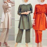 Eid Two-Peça Muslim Sets Abaya Turco Tops Calças Vector Femme Hijab Dress Abayas para mulheres Musulman CoSembles Islam Roupas1