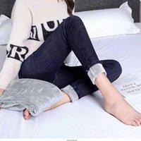 Women's Jeans Women Elastic Thickening Warm Velvet Slim Pencil Denim Pants Multi-size Self-cultivation Trousers Blue Black