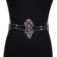 Belts Luxury Belly Dance Rhinestone Waist Belt Body Chain Piercing Sexy Bikini Beach Tribal Turkish Metal Jewelry