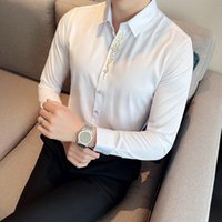 Men's Casual Shirts Autumn Placket Embroidery Men Shirt British Style Long Sleeve Slim Business Formal Dress Social Tuxedo Tops