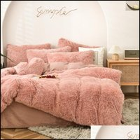 Supplies Textiles Home & Garden2021 Four-Piece Warm Plush Bedding King Queen Size Luxury Quilt Pillow Case Duvet Er Brand Bed Comforters Set