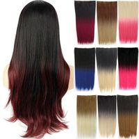 Perucas sintéticas jeendou cabelo liso 5 clipe clipe em uma peça marrom preto balayage gradual cor cor