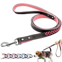 Dog Collars & Leashes 120cm Long Braided Leather Leash Pet Lead Puppy Walking Training Traction Rope Belt For Small Medium Dogs