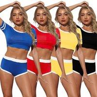 Plus Taille S-5XL Femmes Tracksuits Couleur Solid Two Piece Ensembles Été Vêtements Sports Outfits à manches courtes T-shirts + Mini Shorts Cours de jogging de gymnase 4801