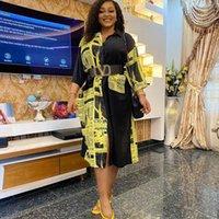Robes africaines pour femmes 2021 Bazin Afrique Vêtements avec ceinture Loose Shirt Dress Fashion Party Club Lady Vestidos Casual