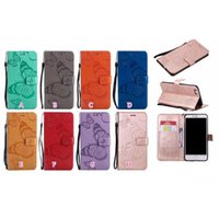 Impronta 3D Cassa da portafoglio in pelle di farfalla 3D per iPhone 12 Pro 11 XR XS XS Max X 8 7 6 Samsung S21 S20 A42 A12 A32 A52 A72 A12 A32 A52 A72 A02S A51 5G Nota 20 ID Slot Slot Fashion Cash Flip Cover Cinturino